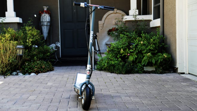 The Razor E300S is a motorized electric scooter with a rechargeable battery system.