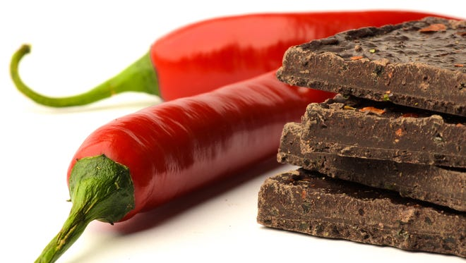 Dark chocolate and hot chile peppers.