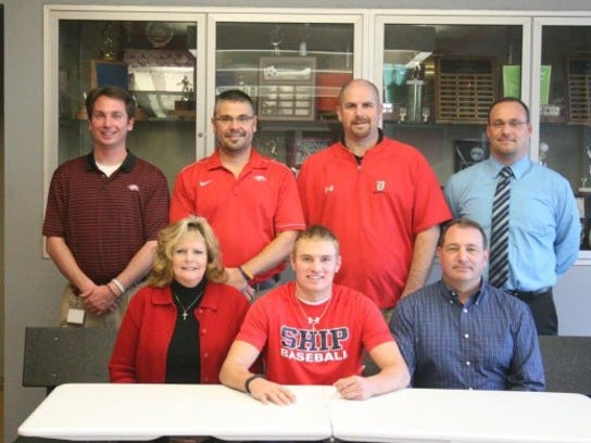 Dover senior Grant Hoover signed his letter of intent to play baseball at Shippensburg University. Pictured, from left: Norma Hoover, Grant Hoover, George Hoover, Dave App (Athletic Trainer/Assistant AD), Rich Leathery (Athletic Director), Mat Eckenroth (Coach), Bill Rickard (Principal). (SUBMITTED)