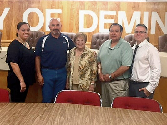 "Courtesy Photo   From left are City Council member Roxann Rincon, Mayor Benny Jasso, Barbara Schreiber and City Councilmen Joe ""Butter"" Milo and Dr. Victor Cruz. Friday, July 31, 2015 has been proclaimed Barbara Schreiber Day."