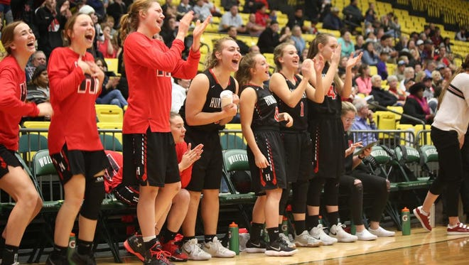 Hurricane's bench celebrates during its 53-44 win over Mountain View in the state tournament quarterfinals March 1, 2018, at Utah Valley University in Orem.