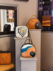Handbags by Mary Ellen Sisulak of Turtle Ridge Gallery, one of the locations taking part in this weekend's Ellison Bay Spring Art Crawl.
