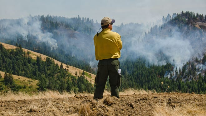 In this photo taken Wednesday, July 22, 2015, Richard Scholl, a private fire fighting contractor out of Walla Walla, watches over a hotspot in the Blue Creek Fire area east of Walla Walla, Wash. The dangerous fire weather extended to Washington state, which is also struggling with drought. About 600 firefighters on the ground and in the air attacked the wildfire that has burned one home and nearly 6 square miles of land in the southeastern part of the state. (Greg Lehman/Walla Walla Union-Bulletin via AP)