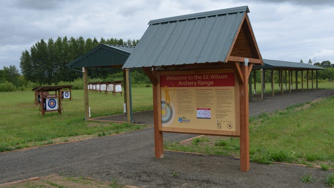 E.E. Wilson Archery Park features covered shooting stands with five beginner-target lanes.