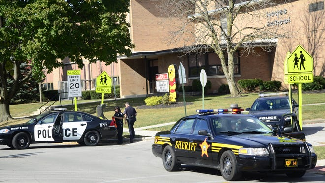 Law enforcement was called to Hayes Elementary after bomb threat was called in at 11:15 a.m. Friday.