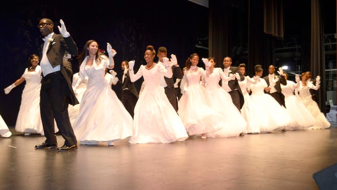 Teens dance across the stage at the annual Monmouth County Cotillion.