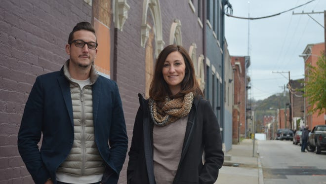 Daniel Souder and Joanna Kirkendall  in front of their future restaurant on Pleasant Street