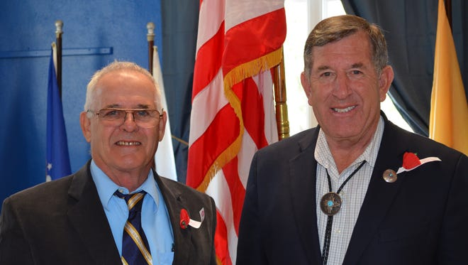John Sterle, left, American Legion District 7 commander, and Rep. John Zimmerman, (R-Las Cruces) were guests at a Veterans Day luncheon held at the Silver City American Legion Post 18 on Wednesday.