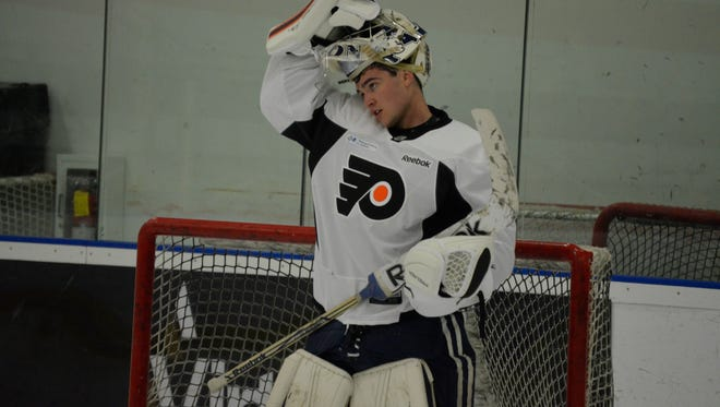 Goalie Alex Lyon joined the Flyers' organization after three years at Yale.