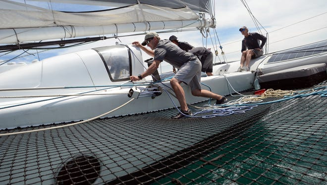 The crew of Arete take off Saturday, July 16, 2016 during the Port Huron-to-Mackinac Island Sailboat Race.
