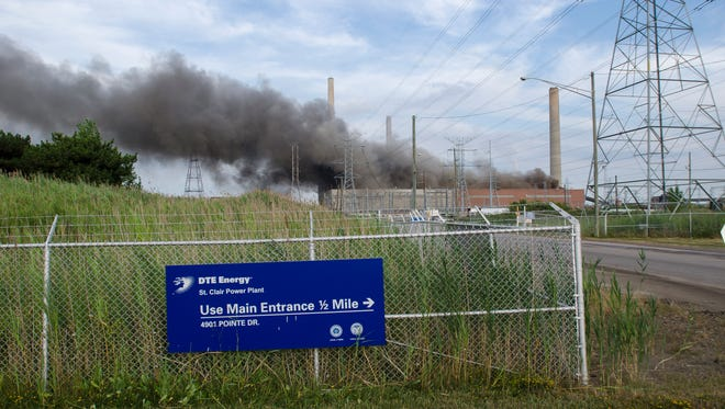 A fire rages at the St. Clair Power Plant Thursday, Aug 11, in East China Township.