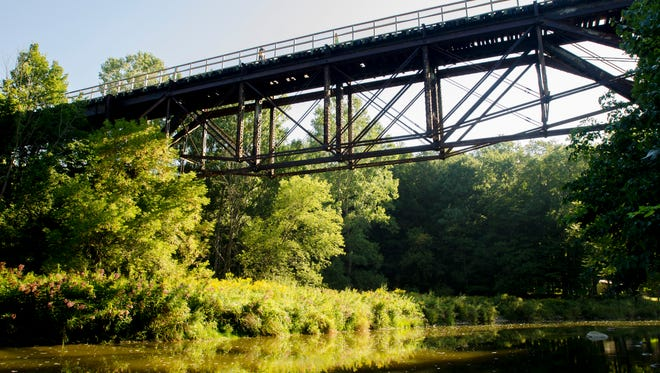 The old trestle bridge Monday, Sept. 5, 2016, during the annual Trestle Trek along the Wadhams-to-Avoca Trail.