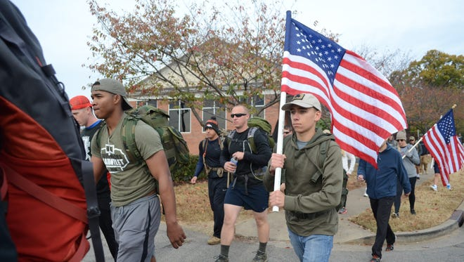 On the occasion of Veterans Day, participants from the Reboot Combat Recovery march 22 miles with 22 pounds of equipment in remembrance and solidarity for the 22 veterans that commit suicide each day.