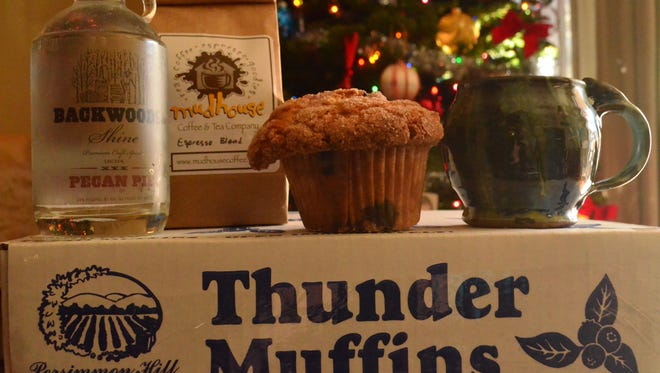 "Local pecan pie liqueur, giant blueberry ""Thunder Muffins,"" and coffee served in a mug made by a local artist is a great way to start Christmas morning."