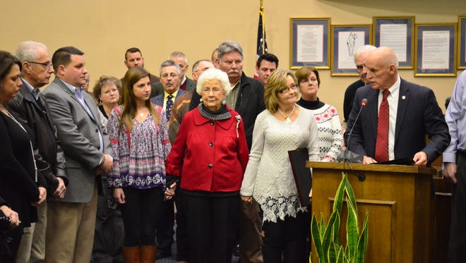 The family of former Sumner County Register of Deeds Pam Whitaker, who died in October 2015, accepted a certificate of recognition in her honor unanimously approved by county leaders Monday, Dec. 19.