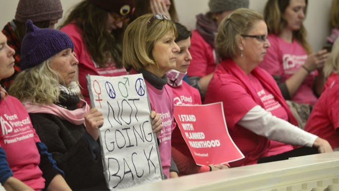 Supporters of Planned Parenthood fill the gallery at the Vermont House of Representatives on Tuesday. House Speaker Mitzi Johnson later reminded the crowd that House rules prohibit signs and placards.