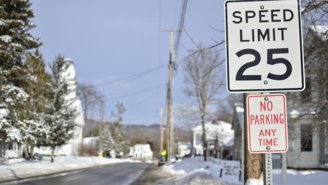 Drivers encounter a radar sign in the 25 mph zone in Huntington's lower village. Town residents will soon have the opportunity to vote on additional police coverage to enforce the speed limits.