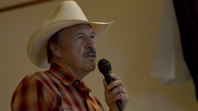 Rob Quist, Democratic candidate for Montana's seat U.S. House of Representatives, speaks to a crowd of about 80 at the Paris Gibson Square Museum of Art in Great Falls Thursday night.