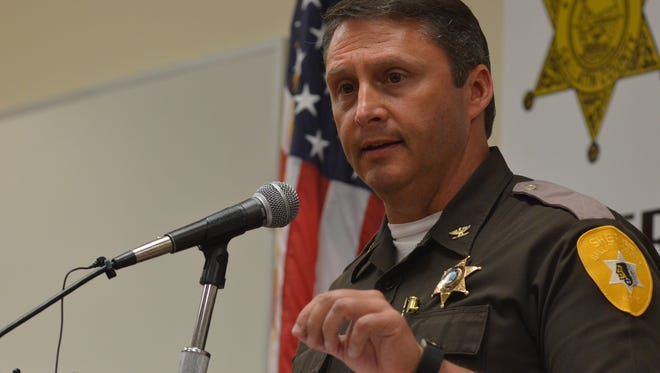 Gallatin County Sheriff Brian Gootkin address the media at a press conference Thursday at the Gallatin County Detention Center.