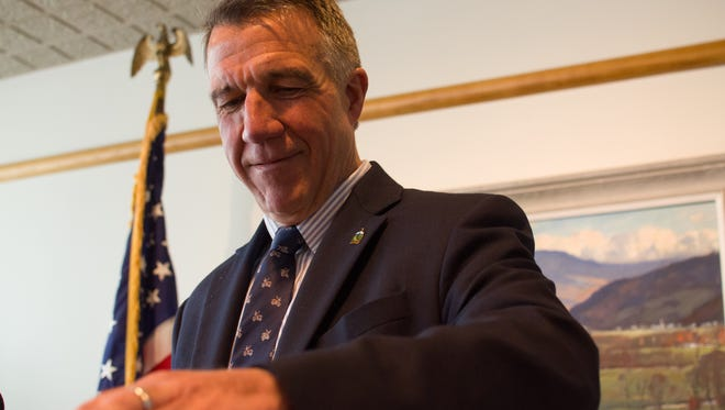 Gov. Phil Scott, pictured at a May 31 news conference in Montpelier, supports renewable energy goals but wants to see a moratorium on industrial wind energy projects in Vermont.