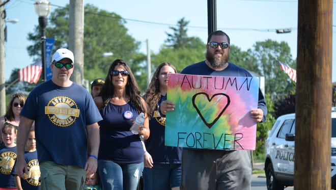 A Walk for Autumn's Law was held Saturday, June 10 in Clayton. Pictured from left are Autumn's father, Anthony Pasquale, Maria Riggio, and Sean Newlin, all of Clayton. Photo/Jodi Streahle