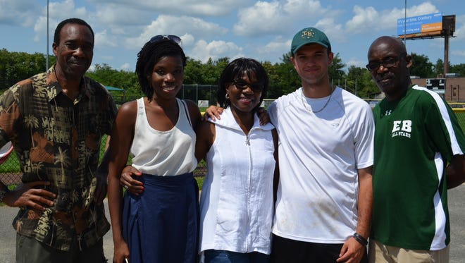 The Awosogba family with Greg Sampson (second from right) after the wiffleball tournament.