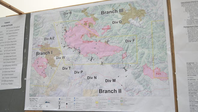 A map at incident command post for the Rice Ridge Fire outside Seeley Lake on Wed., Sept. 6.