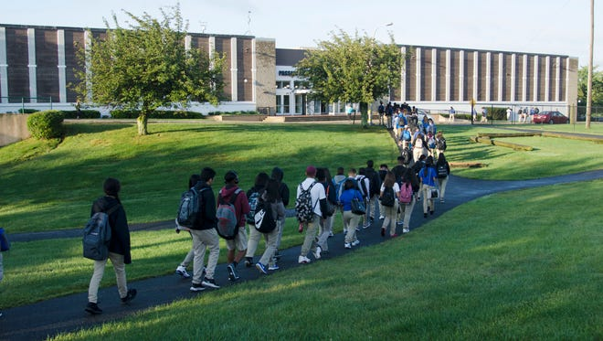 Students return to PCTI for the first day of school after summer vacation.
