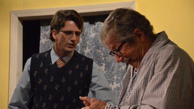 """Adam Bielby and Max Hardy rehearsing """"The Sunshine Boys"""" at Great Escape Stage Company."""