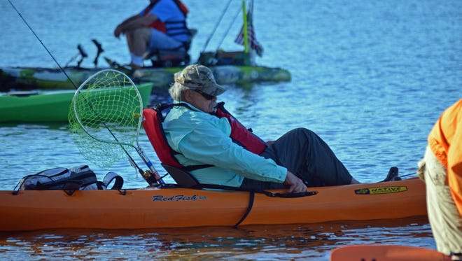 Jim Davis of Rumson heads out for some fishing on Union Lake during the Heroes on the Water kayak fishing event on Saturday, Sept. 23. Photo/Jodi Streahle