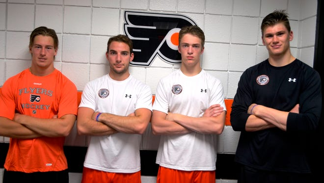 This photo from July of 2014 was a hopeful image of what the Flyers defense would look like. They're all in the NHL...for now.