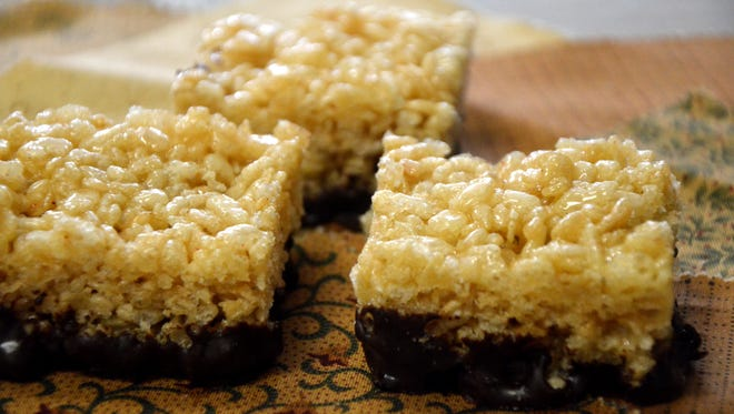 The dark chocolate chili-dipped Rice Krispies treat recipe is listed with the article and was created by the author.