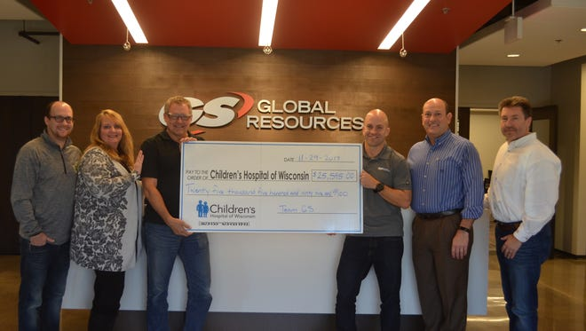Employees of GS Global Resources of Mukwonago since 2002 have raised $250,000 for Children's Hospital. Pictured are the leaders of 113 employees in Team GS: They are (from left) Kris Mayer, Tamara Higgins, Bob Zastrow, Tom Nicholson, John Thornton and Chris Bucki.