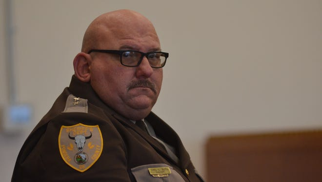 Sheriff Carl Suta in Pondera County District Court ahead of a hearing that would determine if a petition to recall him was valid by state law.