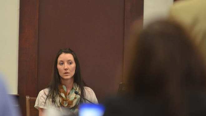 Jessica Hansen, who now goes by Jessica Klette, testifies in the Robert Back concussion case trial on Tuesday, March 20, 2018.