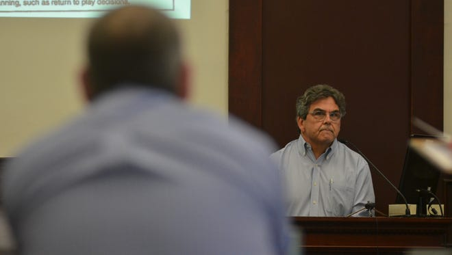 Dr. Thomas Triehy, right, testifies during the Robert Back concussion trial on Tuesday, March 20, 2018.