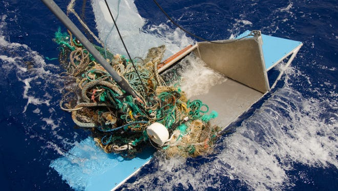 Floating debris in the Great Pacific Garbage Patch.
