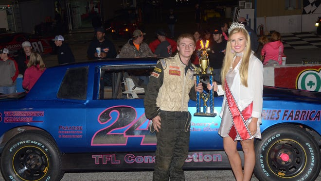 Caleb Burkett, left, had a career-best finish of second place the last time the Pure Stocks class raced at Five Flags Speedway.