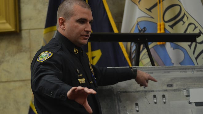 Great Falls Police Sergeant Rob Beall describes the scene of a December officer-involved shooting at a coroner's inquest on April 16, 2018.