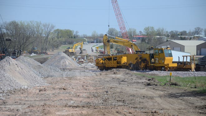 Work continues on a Highway 115 bridge in Dell Rapids.