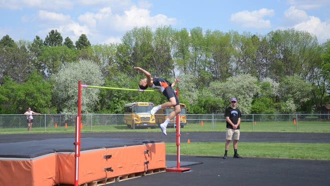 Dell Rapids' Mason Schmidt won the Region 3A high jump championship with a height of 6 feet, 4 inches.