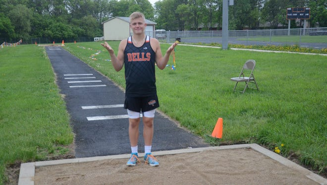 Dell Rapids senior Josh Heinemann qualified for the State Track & Field meet in Rapid City on his final attempt of the season at the Region 3A meet on May 17 in Dell Rapids.