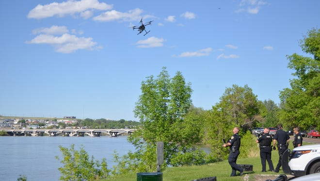 Great Falls police used a drone to locate the man's body reported floating in the Missouri River on May 25, 2018.