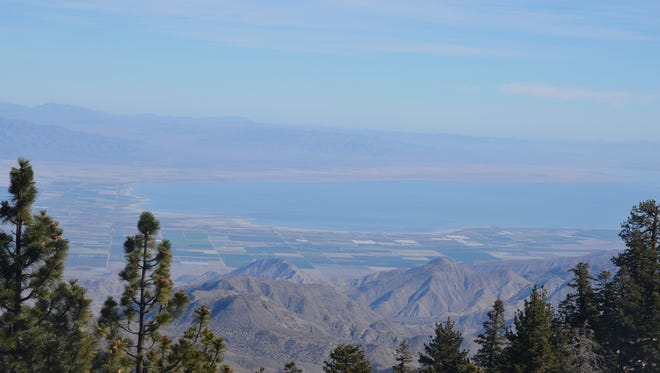 The Salton Sea can be seen from Toro Peak in the Santa Rosa Mountains.