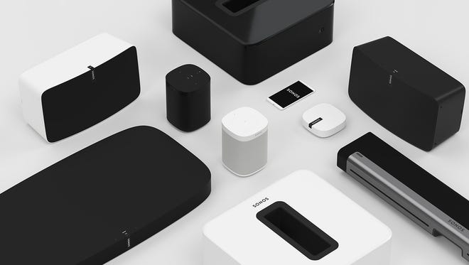 A collection of Sonos wireless speaker and audio products. The Santa Barbara, California company is set to go public.