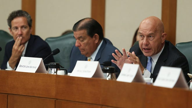 Left to right: State Sens. Kelly Hancock, R-North Richland Hills; Eddie Lucio Jr., D-Brownsville; and John Whitmire, D-Houston, at the second day of hearings held by the Senate Select Committee on Violence in Schools and School Security on June 12, 2018.