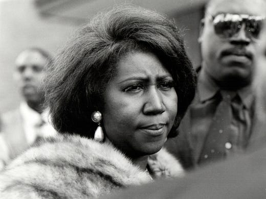 Aretha Franklin photographed outside New Bethel Baptist