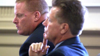 At left, former Rockaway Township police Sgt. Christopher Stahl