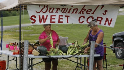 Linda Randall, left, and Rose Adams sell produce recently on North Bend Road, visible to drivers. Later in the day, they were told by Hamilton County zoning officials that they would be cited if they didn't shut down their tent and set up behind their building with no signage out front.
