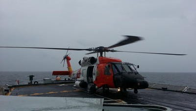 An MH-60 Jayhawk helicopter from Coast Guard Air Station Elizabeth City, N.C., is shown aboard the HMCS Halifax, a Royal Canadian Navy frigate, in this file photo.